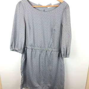 Peppermint  Gray pink patter front pocket dress L